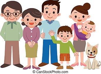 sorrizo, família feliz, três geração