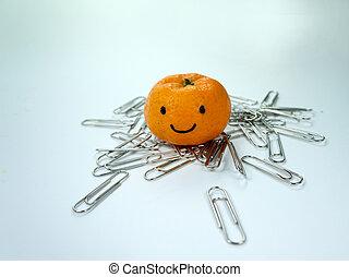 sorrizo, laranja, ligado, paperclip