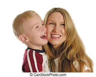 sorrizo, mãe, criança