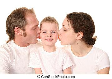 sorrizo, menino, pais, beijando