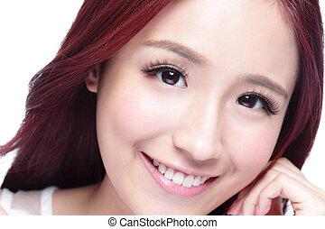 sorrizo, mulher, beleza, charming
