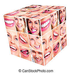 sorrizo, mulher, cubo, collage.