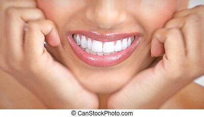 sorrizo, mulher, dentes
