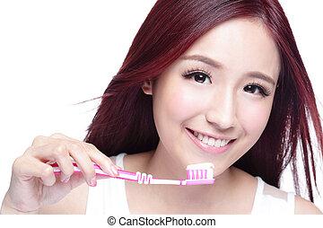 sorrizo, mulher, escove dentes