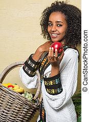 sorrizo, mulher, ethiopian