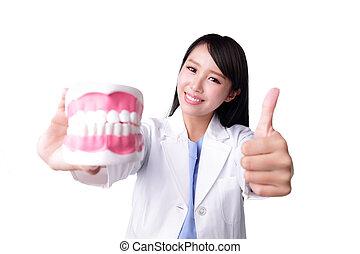 sorrizo, mulher, odontólogo, doutor