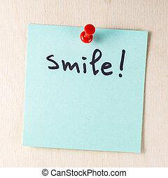 sorrizo, nota, ligado, papel, poste