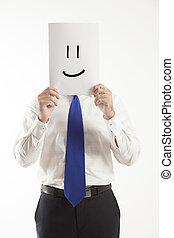 sorrizo, papel, negócio, segurando, homem