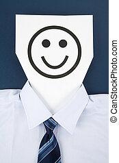 sorrizo, papel, rosto