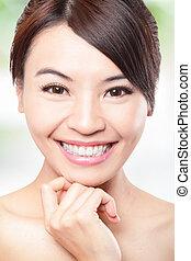 sorrizo, rosto, de, mulher, com, saúde, dentes