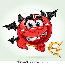 sorrizo, traje, alegre, diabo
