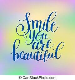 sorrizo, tu, é, bonito, frase, mão, lettering, positivo, citação