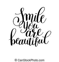 sorrizo, tu, é, bonito, frase, mão, lettering, positivo,...