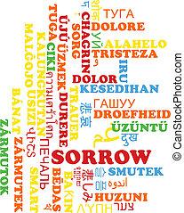 Sorrow multilanguage wordcloud background concept - ...