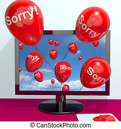 Sorry Balloons From Computer Shows Online Apology Regret Or ...