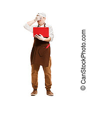 Sorry butcher posing with a laptop isolated on white ...