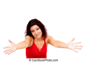Sorry, can't help. Woman with arms stretched isolated on ...
