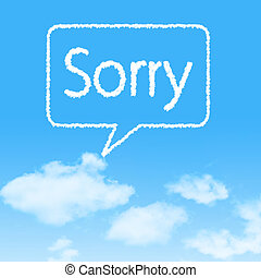 Sorry cloud icon with design on blue sky background