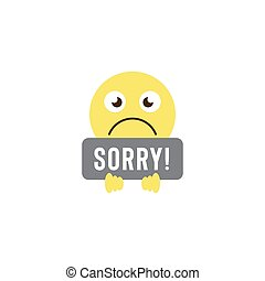 sorry emoticons vector icon symbol isolated on white background