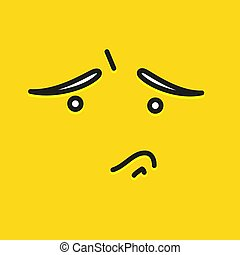 Sorry smile icon template design. Sad emoticon vector logo on yellow background. Face line art style. Shows a tongue.