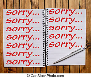 Sorry word on note pad