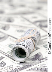 sors, banda, tekercselt, dollárok, feláll, bennünket, életlen, banknotes, fekszik, amerikai, rögzít, háttér