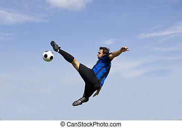 sortűz, futball, -, foci játékos