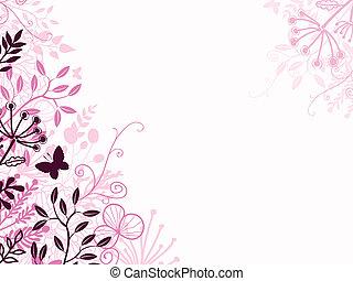 sort, blomstrede, baggrund, lyserød, bagtæppe