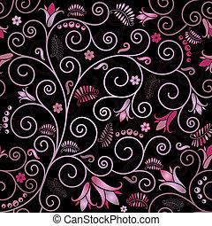 sort, blomstrede, seamless, mønster