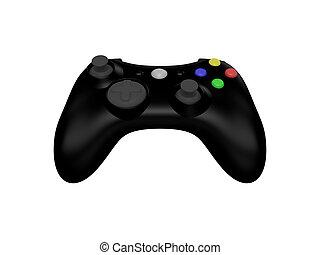 sort, controller boldspil video, på hvide