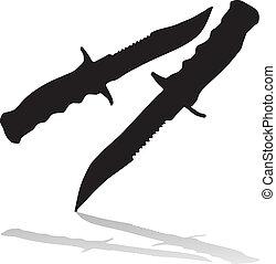 sort, det knifes, silhuetter, hos, sha