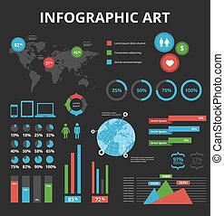sort, elementer, sæt, infographic