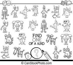 sort, färg, robotarna, en, lek, bok