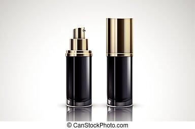 sort, flasker, kosmetik