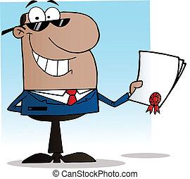 sort, forretningsmand, viser, kontrakt
