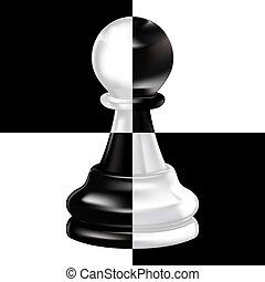 sort, hvid pant, på, skakbræt
