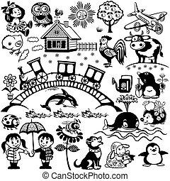 sort, hvid, sæt, by, børn