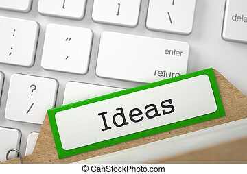 Sort Index Card with Inscription Ideas. 3D Illustration.