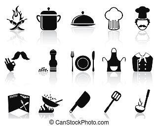 sort, køkkenchef, iconerne, sæt