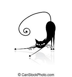 sort kat, silhuet, by, din, konstruktion