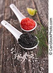 sort kaviar, rød