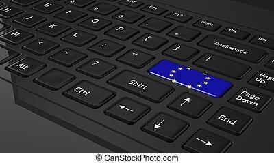 sort, klaviatur, hos, europæisk flag, på, ind