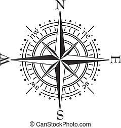 sort, kompas