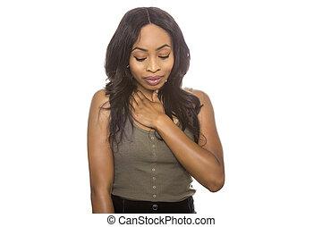 sort kvindelig, genert, udtryk, på hvide, baggrund