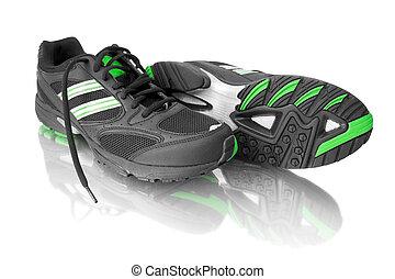 sort, løb sko