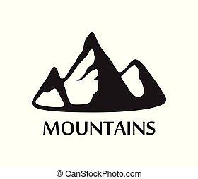 sort, logo, i, bjerge, isoleret, på hvide, baggrund