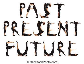 sort, påklædt, folk, danne, fortid, gave, fremtid