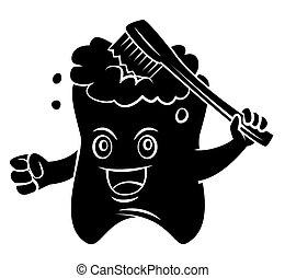 sort, silhuet, :, tand, mascot