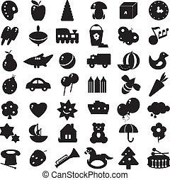 sort, silhuetter, legetøj