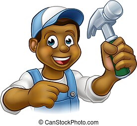 sort, snedker, handyman, cartoon, karakter